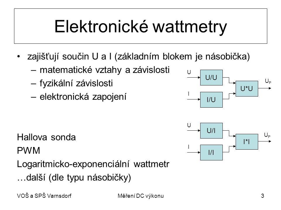 VOŠ a SPŠ VarnsdorfMěření DC výkonu4 Wattmetr s Hallovou sondou Princip Hallovy sondy: -výchozí veličiny: -proud I S -proud I μ= -pro DC i AC výkony (do 25 kHz) U/I S I/I μ I*I U I UHUH Iμ~ BIμ~ B