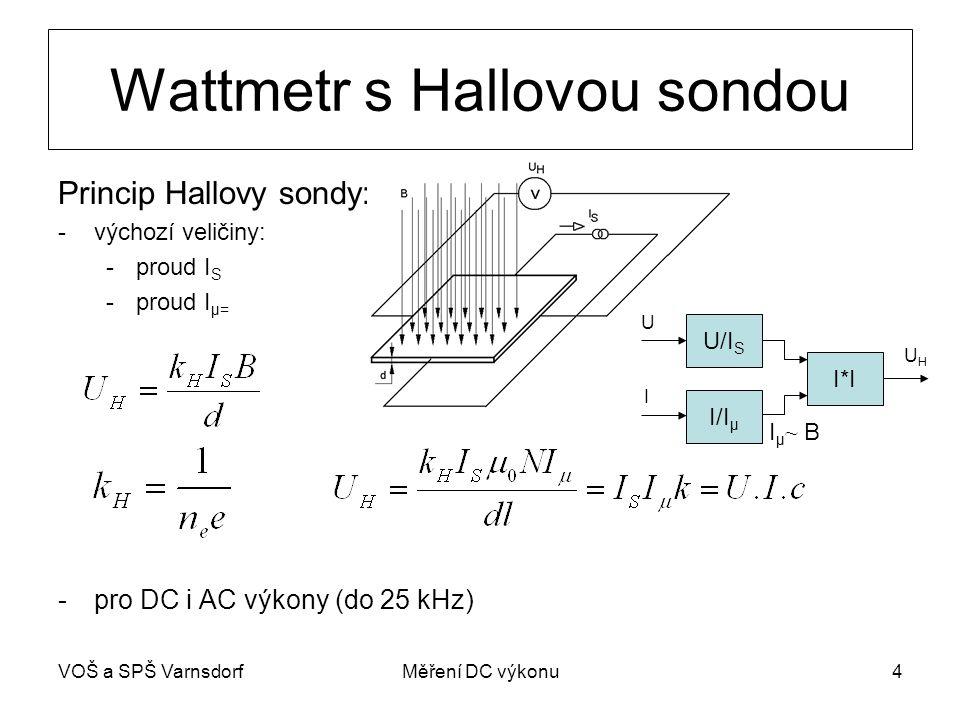 VOŠ a SPŠ VarnsdorfMěření DC výkonu4 Wattmetr s Hallovou sondou Princip Hallovy sondy: -výchozí veličiny: -proud I S -proud I μ= -pro DC i AC výkony (