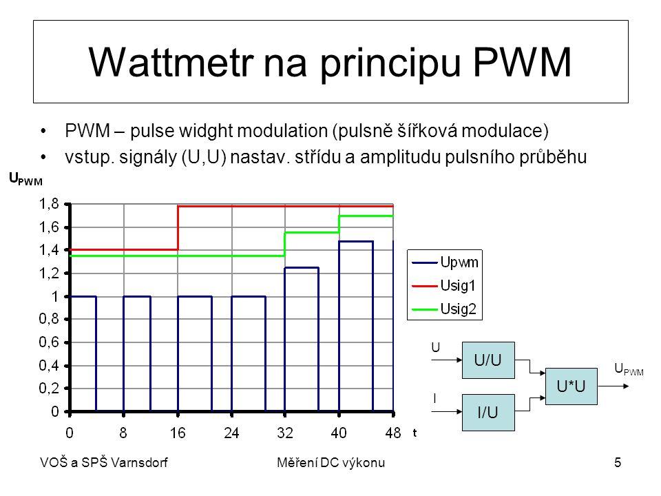 VOŠ a SPŠ VarnsdorfMěření DC výkonu5 Wattmetr na principu PWM PWM – pulse widght modulation (pulsně šířková modulace) vstup. signály (U,U) nastav. stř