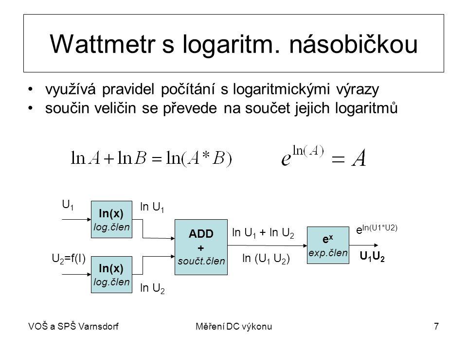 VOŠ a SPŠ VarnsdorfMěření DC výkonu7 Wattmetr s logaritm. násobičkou ln(x) log.člen ln(x) log.člen ADD + součt.člen e x exp.člen U1U1 U 2 =f(I) ln U 1