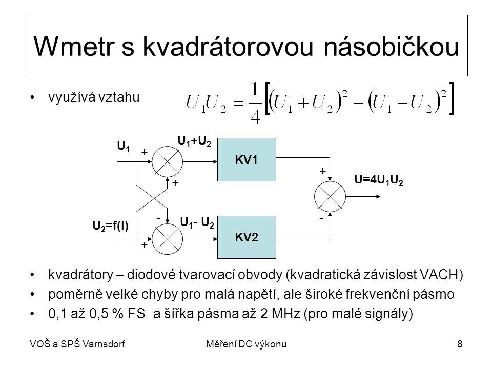 VOŠ a SPŠ VarnsdorfMěření DC výkonu8 Wmetr s kvadrátorovou násobičkou využívá vztahu kvadrátory – diodové tvarovací obvody (kvadratická závislost VACH