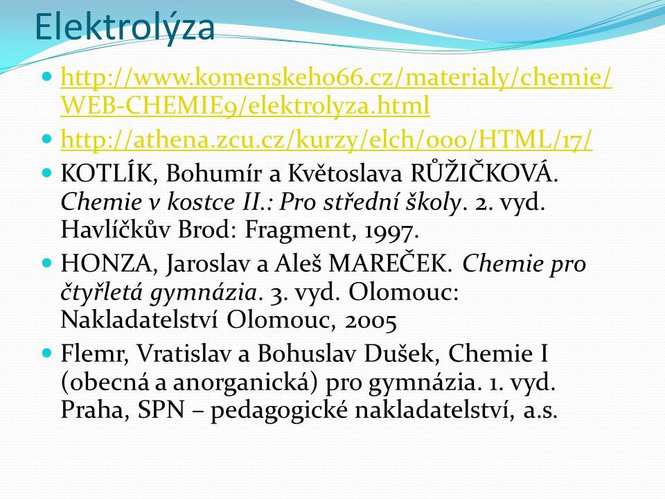 Elektrolýza http://www.komenskeho66.cz/materialy/chemie/ WEB-CHEMIE9/elektrolyza.html http://www.komenskeho66.cz/materialy/chemie/ WEB-CHEMIE9/elektrolyza.html http://athena.zcu.cz/kurzy/elch/000/HTML/17/ KOTLÍK, Bohumír a Květoslava RŮŽIČKOVÁ.