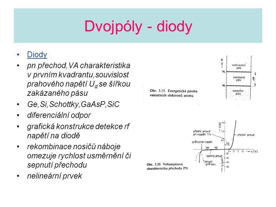 Dvojpóly - diody Diody pn přechod,VA charakteristika v prvním kvadrantu,souvislost prahového napětí U d se šířkou zakázaného pásu Ge,Si,Schottky,GaAsP