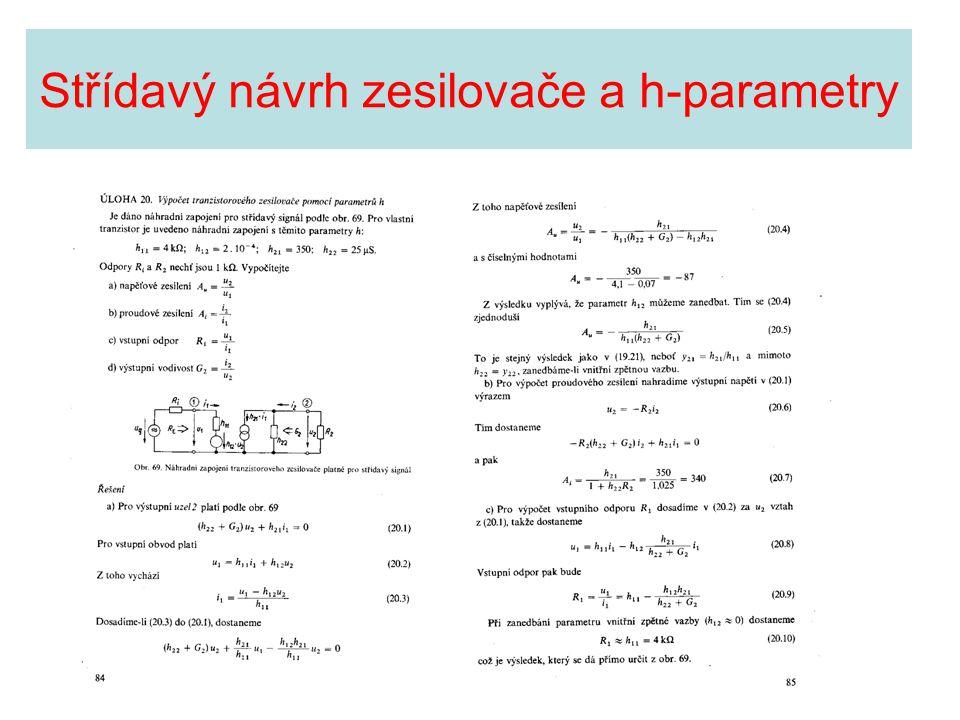 Střídavý návrh zesilovače a h-parametry