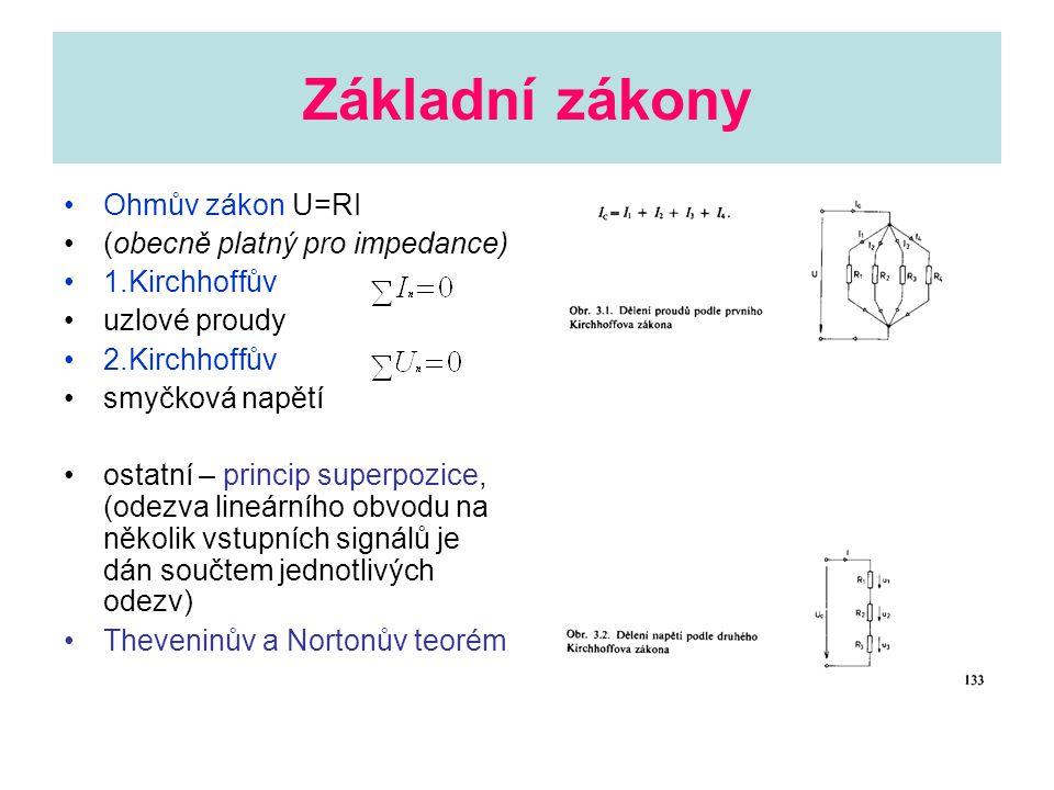 Základní zákony Ohmův zákon U=RI (obecně platný pro impedance) 1.Kirchhoffův uzlové proudy 2.Kirchhoffův smyčková napětí ostatní – princip superpozice