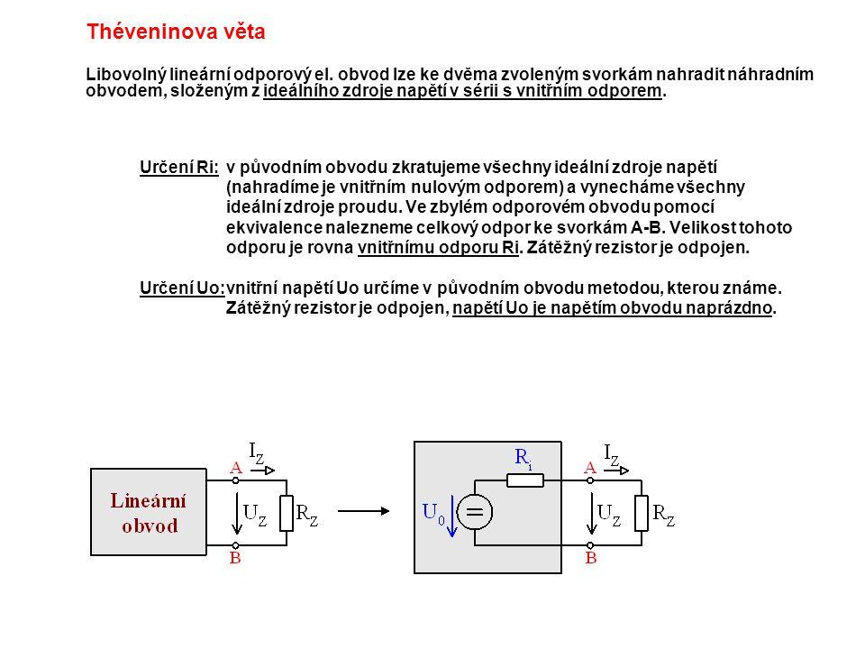 Théveninova věta Libovolný lineární odporový el. obvod lze ke dvěma zvoleným svorkám nahradit náhradním obvodem, složeným z ideálního zdroje napětí v