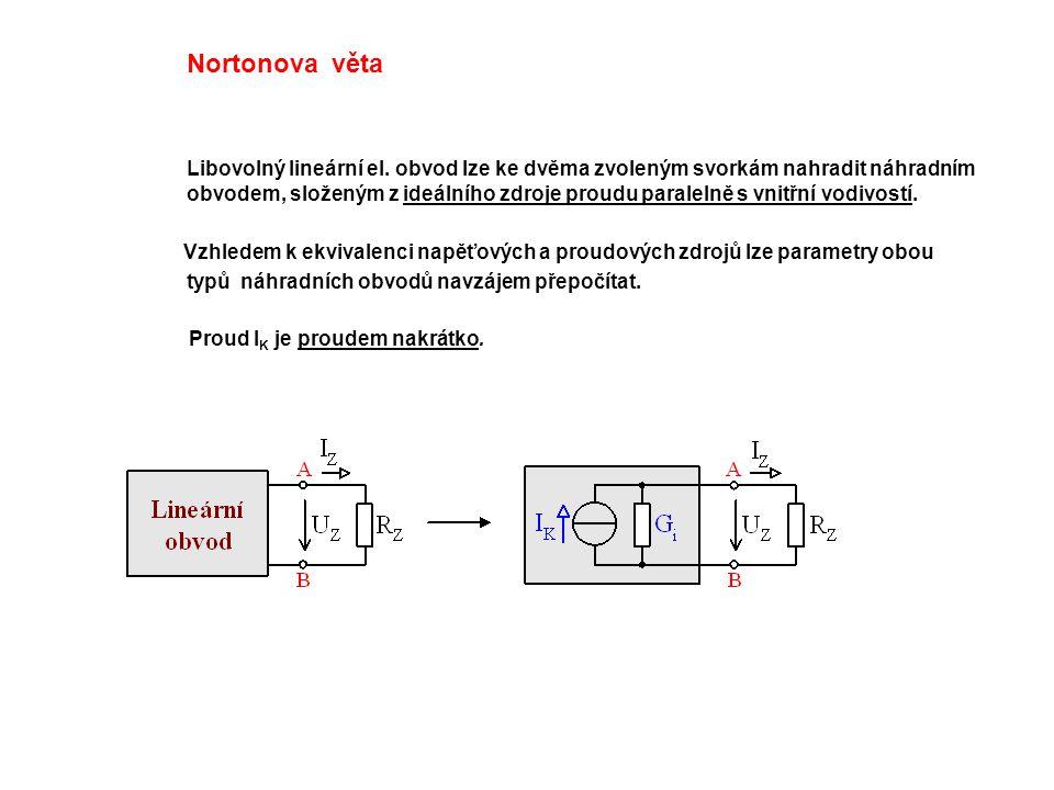 Nortonova věta Libovolný lineární el. obvod lze ke dvěma zvoleným svorkám nahradit náhradním obvodem, složeným z ideálního zdroje proudu paralelně s v