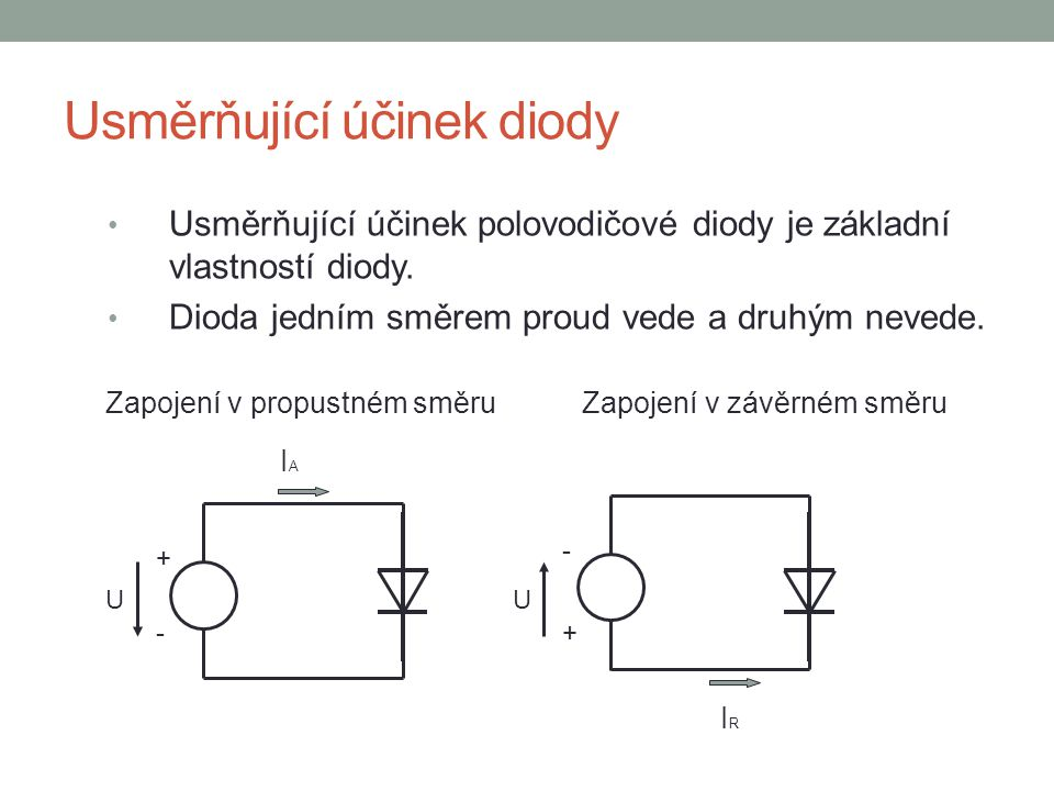 Usměrňující účinek diody Usměrňující účinek polovodičové diody je základní vlastností diody. Dioda jedním směrem proud vede a druhým nevede. + +- - UU