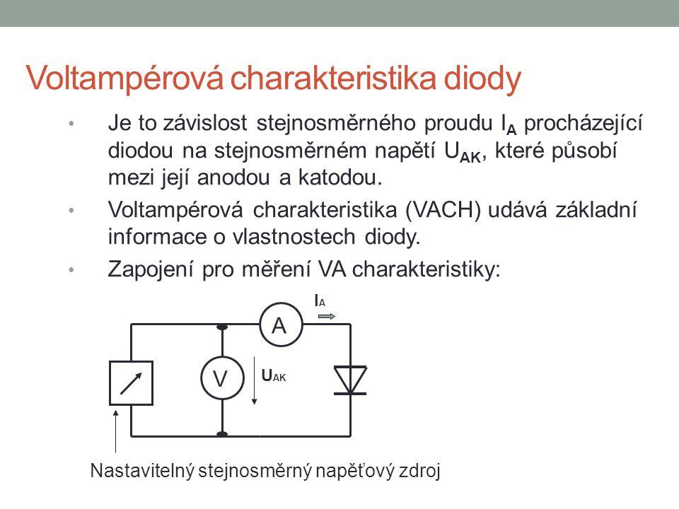 Voltampérová charakteristika diody Je to závislost stejnosměrného proudu I A procházející diodou na stejnosměrném napětí U AK, které působí mezi její