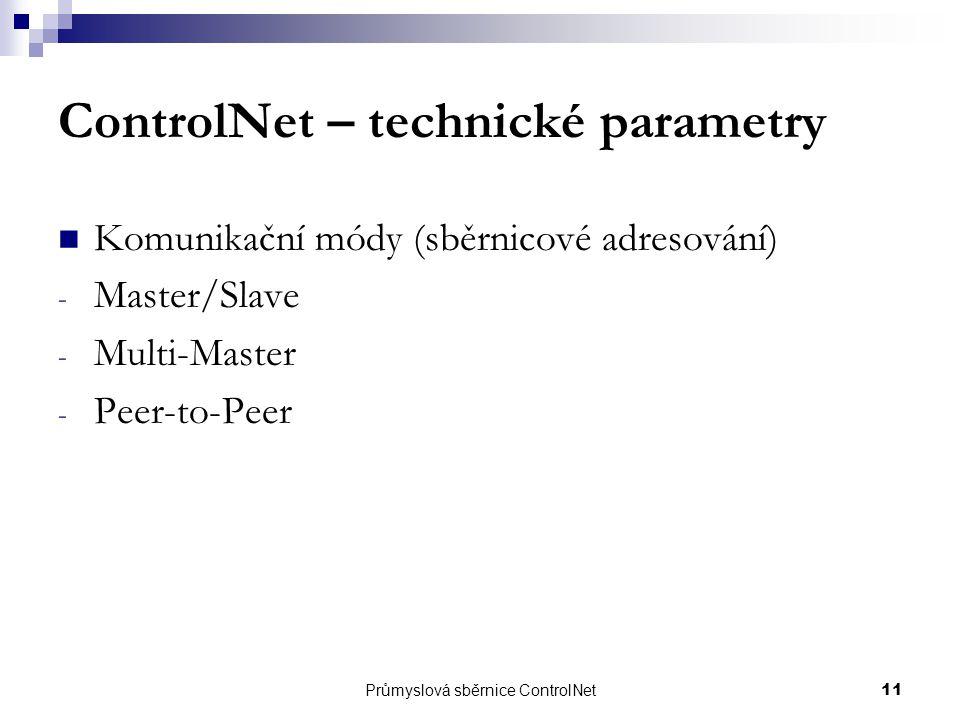Průmyslová sběrnice ControlNet11 ControlNet – technické parametry Komunikační módy (sběrnicové adresování) - Master/Slave - Multi-Master - Peer-to-Pee