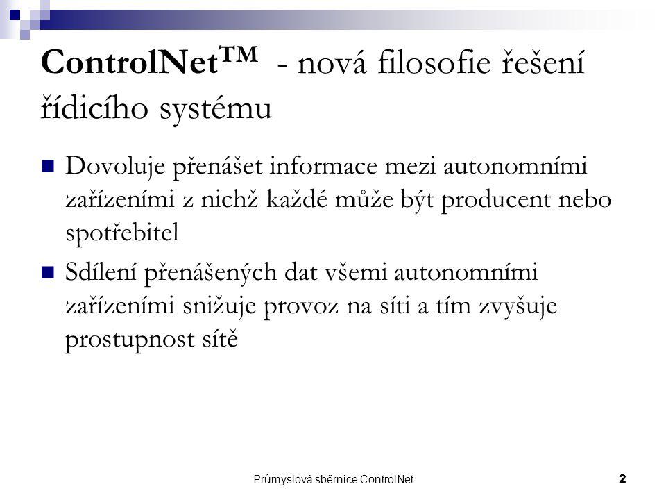 Průmyslová sběrnice ControlNet2 ControlNet TM - nová filosofie řešení řídicího systému Dovoluje přenášet informace mezi autonomními zařízeními z nichž