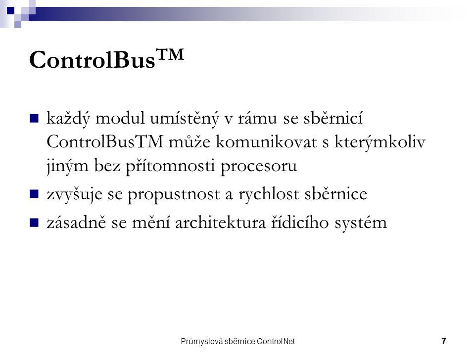 Průmyslová sběrnice ControlNet7 ControlBus TM každý modul umístěný v rámu se sběrnicí ControlBusTM může komunikovat s kterýmkoliv jiným bez přítomnost