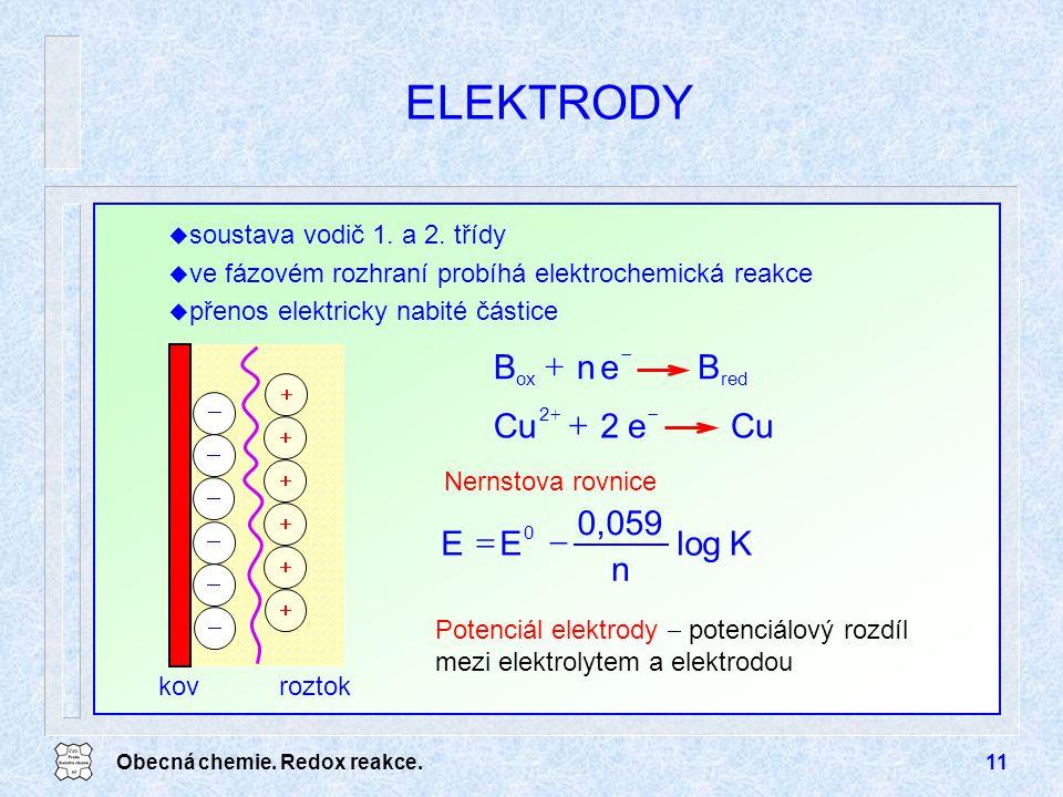 Obecná chemie. Redox reakce.11 ELEKTRODY Nernstova rovnice             kovroztok Cue2 2   BenB redox   Klog n 0,059 EE 0  u soustav