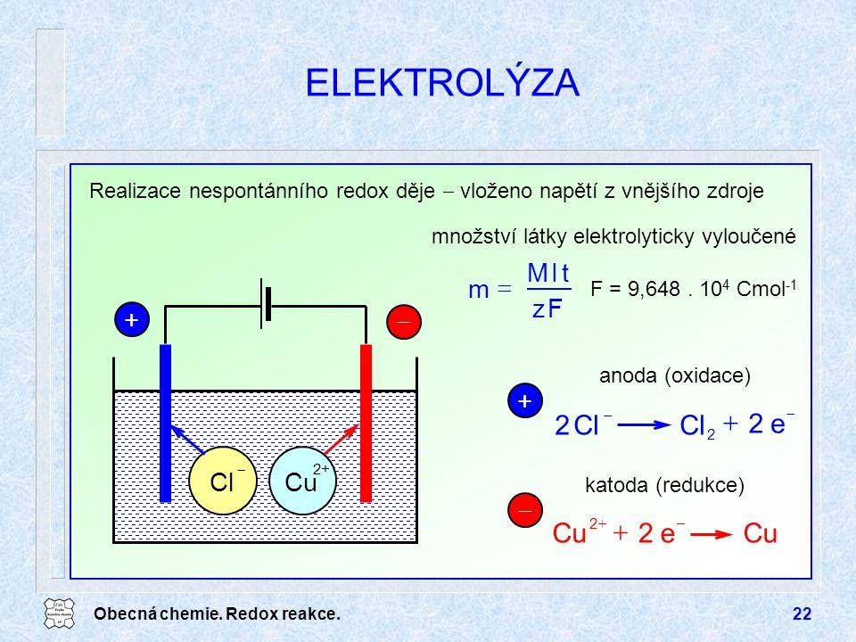 Obecná chemie. Redox reakce.22 ELEKTROLÝZA Realizace nespontánního redox děje  vloženo napětí z vnějšího zdroje +  Cl  Cu 2+ Fz tIM m  množství lá