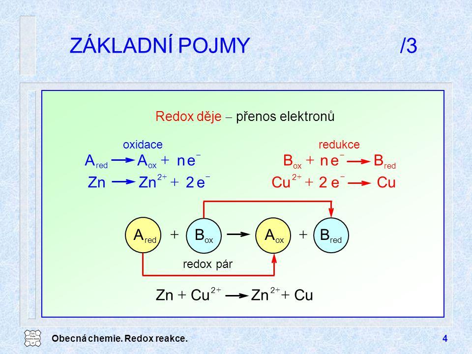 Obecná chemie. Redox reakce.4 ZÁKLADNÍ POJMY/3 enAA oxred   BenB ox   e2Zn 2   Cue2 2   Redox děje  přenos elektronů redukceoxidace CuZnCuZ