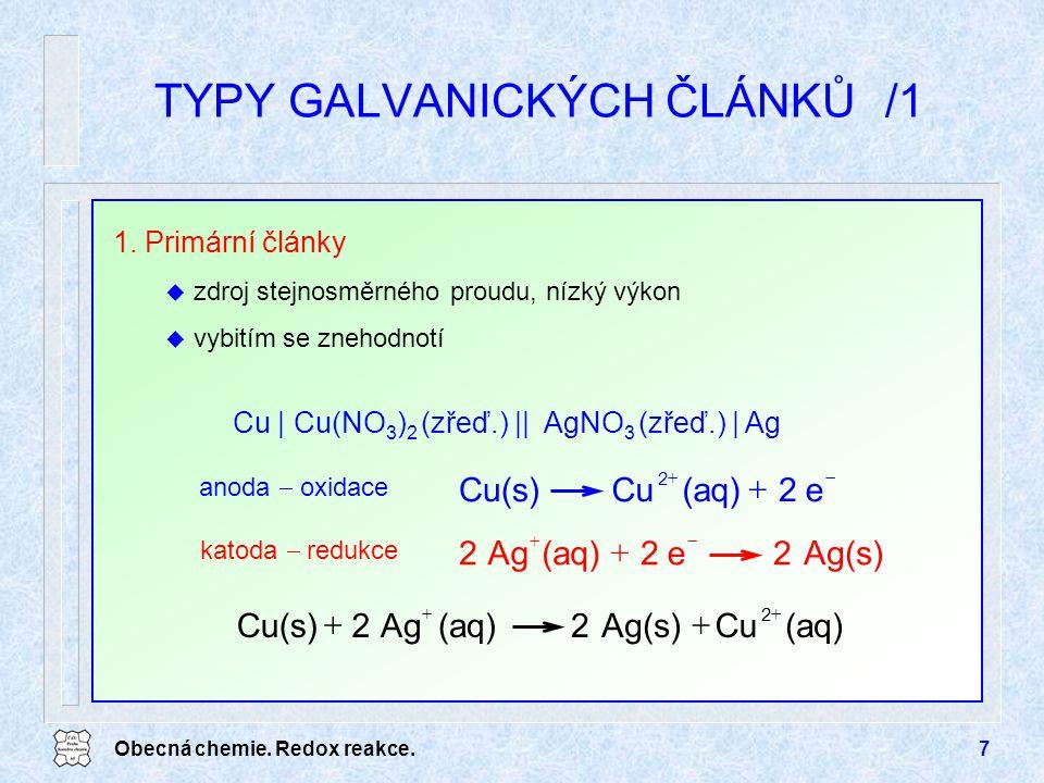 Obecná chemie. Redox reakce.7 TYPY GALVANICKÝCH ČLÁNKŮ/1 Cu | Cu(NO 3 ) 2 (zřeď.) || AgNO 3 (zřeď.) | Ag anoda  oxidace katoda  redukce Ag(s)2e2(aq)