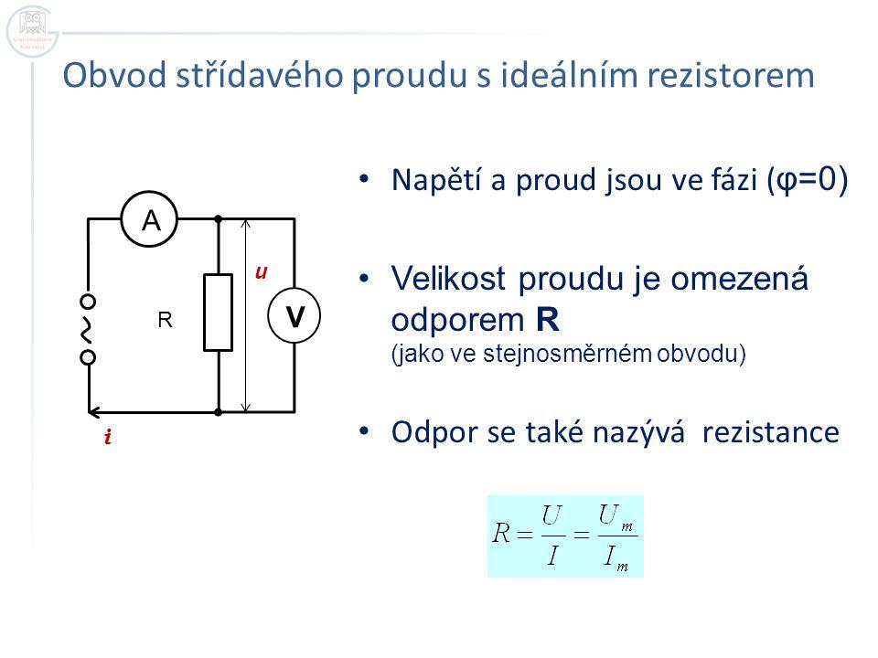 Obvod střídavého proudu s ideálním rezistorem Napětí a proud jsou ve fázi ( φ=0) Velikost proudu je omezená odporem R (jako ve stejnosměrném obvodu) O