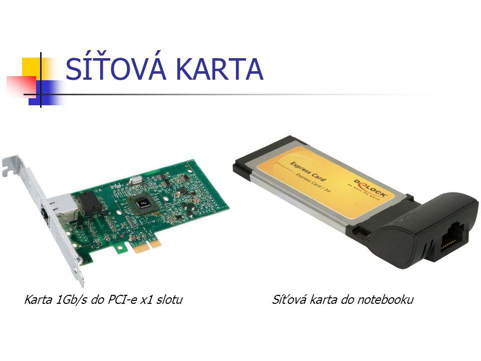 SÍŤOVÁ KARTA bezdrátové karty používané v noteboocích, využívají technologie Wi-Fi dokáží s touto technologií přenášet data rychlostí až 50 Mbit/s (802.11g) pro porovnání: bezdrátové technologie používané mobilními operátory v současnosti (třetí generace mobilních sítí) dokáží přenášet data s maximální možnou rychlostí 14,4 Mbit/s