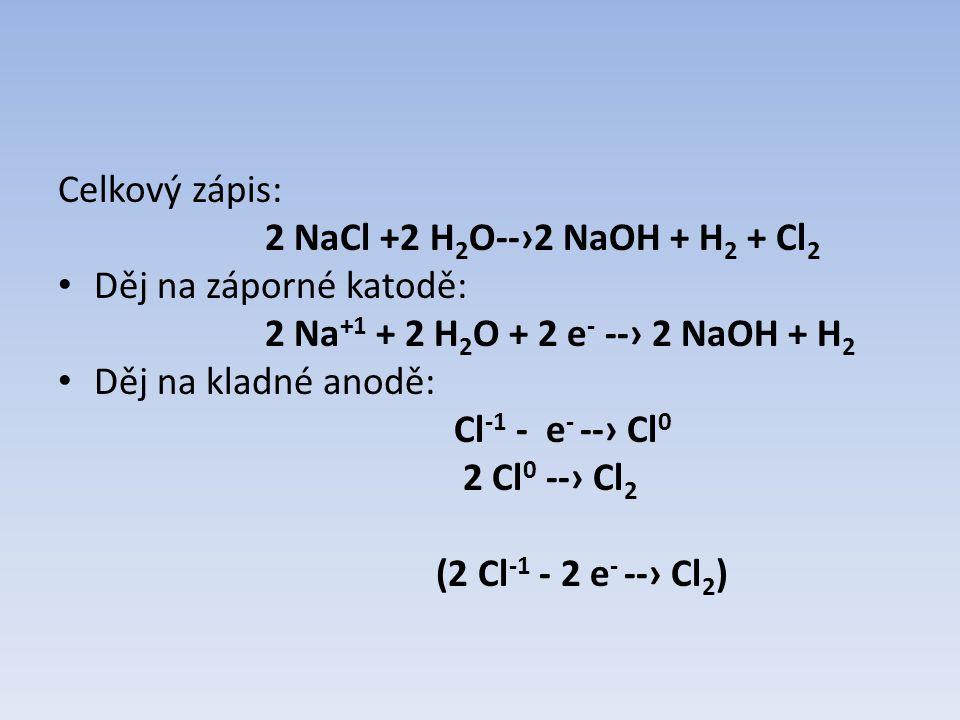 Celkový zápis: 2 NaCl +2 H 2 O--›2 NaOH + H 2 + Cl 2 Děj na záporné katodě: 2 Na +1 + 2 H 2 O + 2 e - --› 2 NaOH + H 2 Děj na kladné anodě: Cl -1 - e - --› Cl 0 2 Cl 0 --› Cl 2 (2 Cl -1 - 2 e - --› Cl 2 )