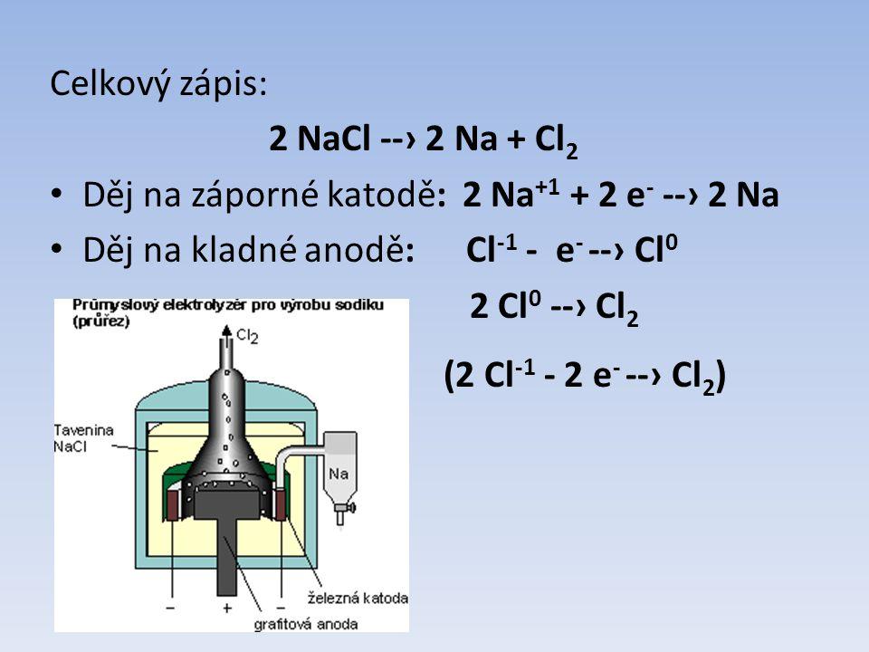 Celkový zápis: 2 NaCl --› 2 Na + Cl 2 Děj na záporné katodě: 2 Na +1 + 2 e - --› 2 Na Děj na kladné anodě: Cl -1 - e - --› Cl 0 2 Cl 0 --› Cl 2 (2 Cl -1 - 2 e - --› Cl 2 )