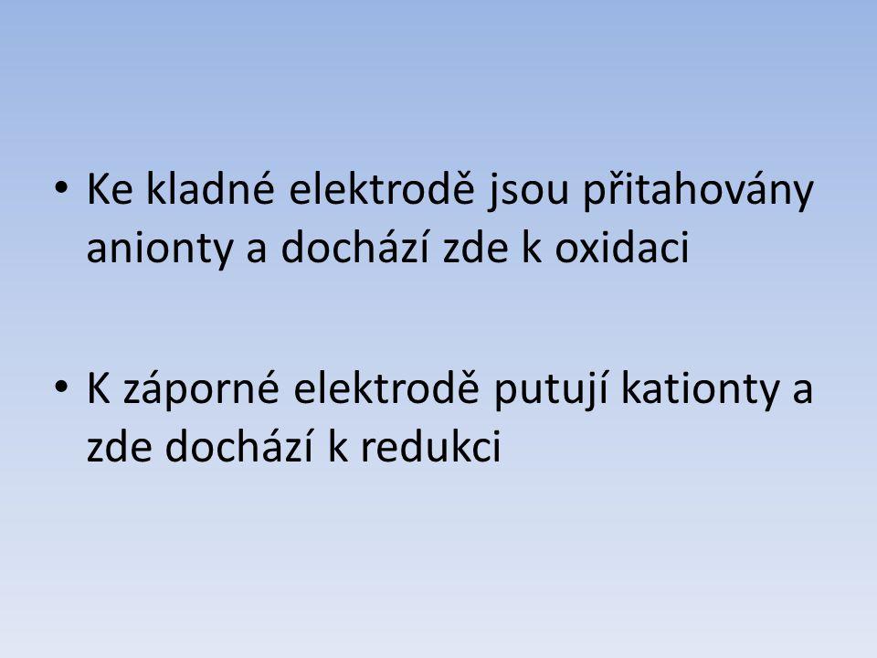 Ke kladné elektrodě jsou přitahovány anionty a dochází zde k oxidaci K záporné elektrodě putují kationty a zde dochází k redukci