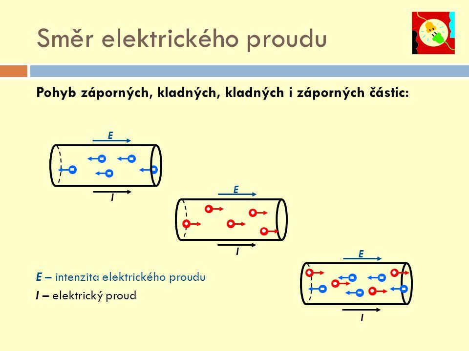 E I Směr elektrického proudu Pohyb záporných, kladných, kladných i záporných částic: E – intenzita elektrického proudu I – elektrický proud E I E I