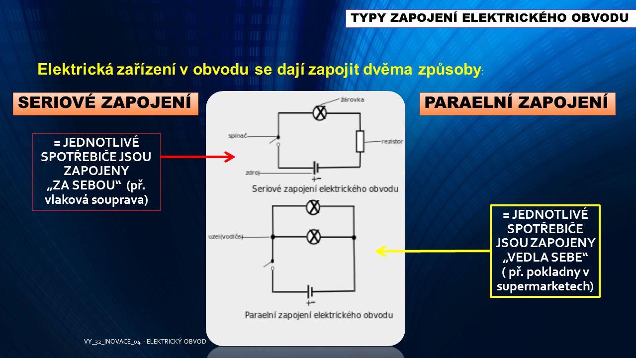 TYPY ZAPOJENÍ ELEKTRICKÉHO OBVODU Elektrická zařízení v obvodu se dají zapojit dvěma způsoby : SERIOVÉ ZAPOJENÍPARAELNÍ ZAPOJENÍ = JEDNOTLIVÉ SPOTŘEBI