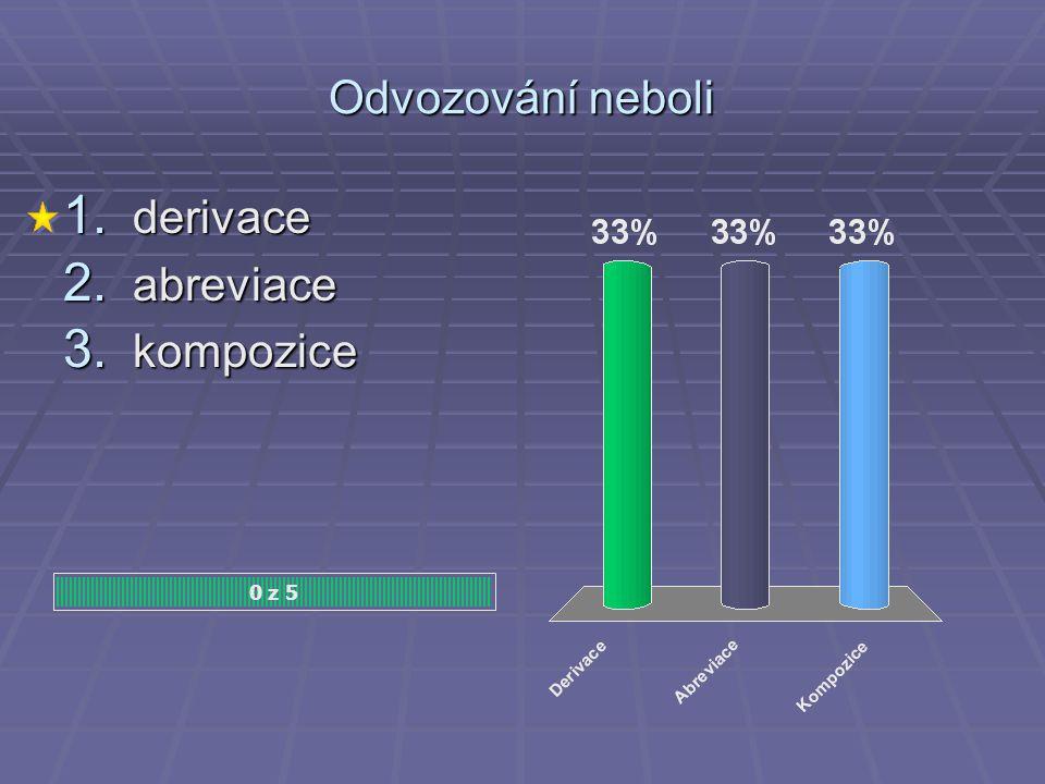 Odvozování neboli 0 z 5 1. derivace 2. abreviace 3. kompozice
