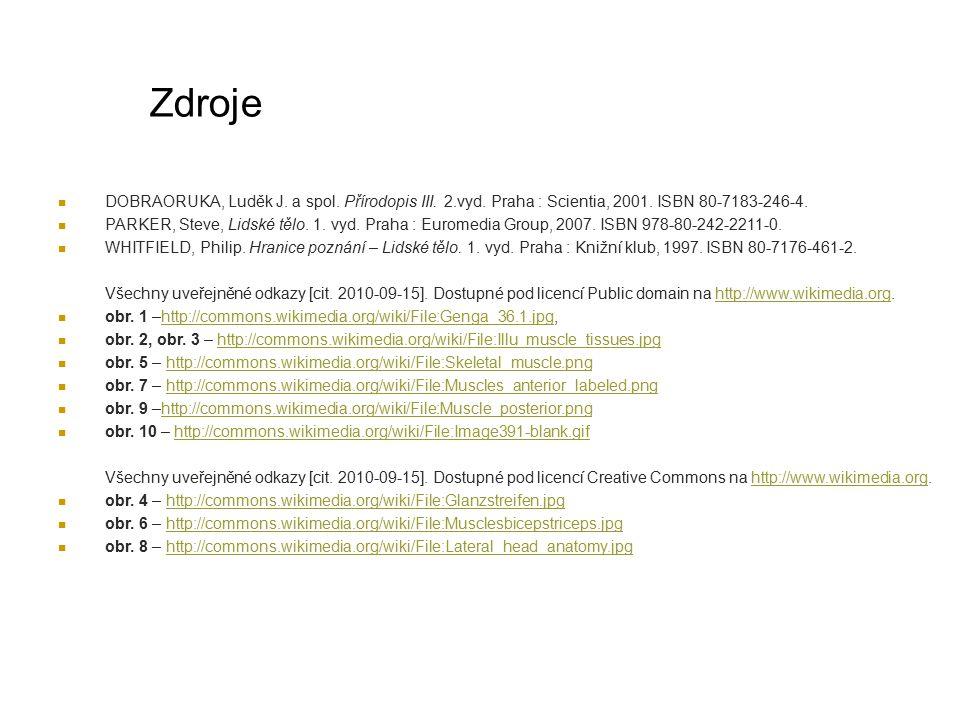 Zdroje DOBRAORUKA, Luděk J. a spol. Přírodopis III. 2.vyd. Praha : Scientia, 2001. ISBN 80-7183-246-4. PARKER, Steve, Lidské tělo. 1. vyd. Praha : Eur