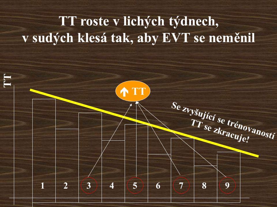 TT roste v lichých týdnech, v sudých klesá tak, aby EVT se neměnil 123456789  TT TT Se zvyšující se trénovaností TT se zkracuje!