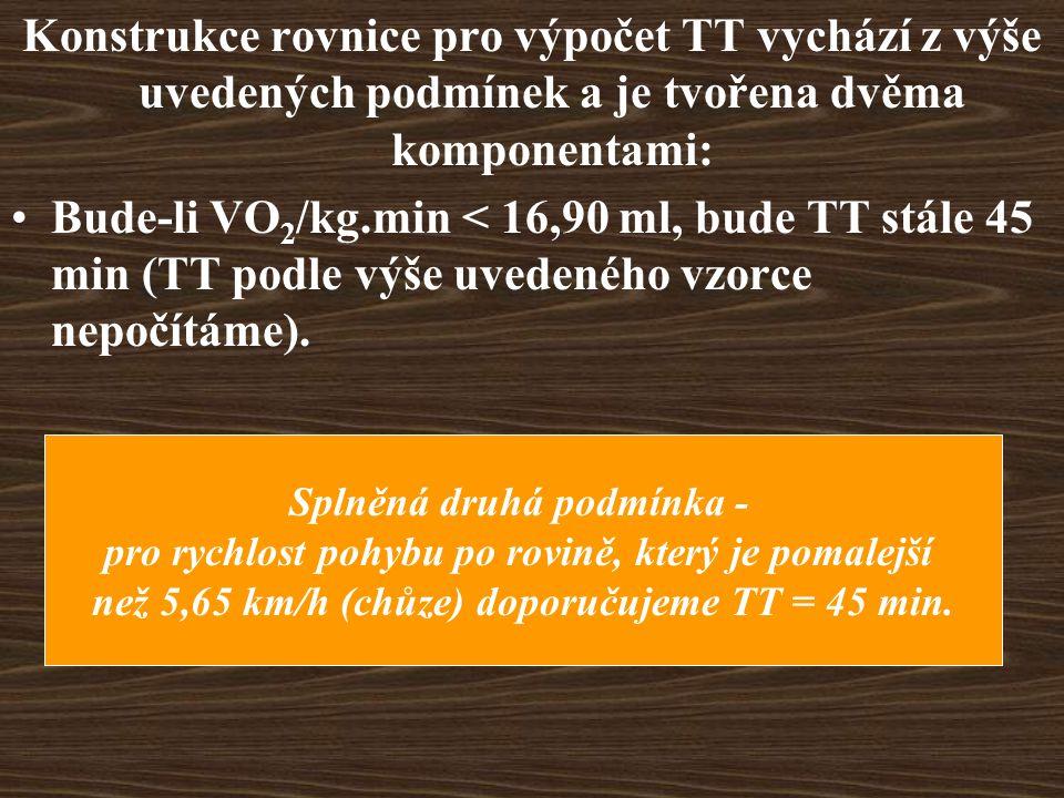Konstrukce rovnice pro výpočet TT vychází z výše uvedených podmínek a je tvořena dvěma komponentami: Bude-li VO 2 /kg.min < 16,90 ml, bude TT stále 45 min (TT podle výše uvedeného vzorce nepočítáme).