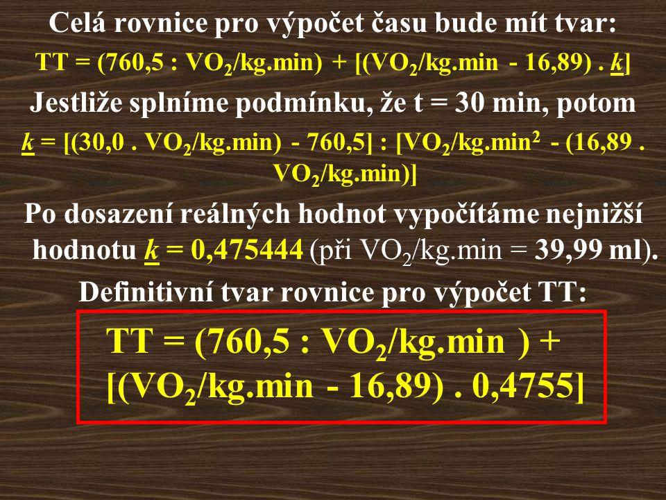 Celá rovnice pro výpočet času bude mít tvar: TT = (760,5 : VO 2 /kg.min) + [(VO 2 /kg.min - 16,89).
