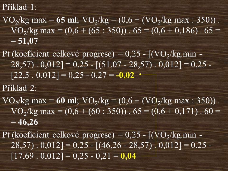 Příklad 1: VO 2 /kg max = 65 ml; VO 2 /kg = (0,6 + (VO 2 /kg max : 350)).