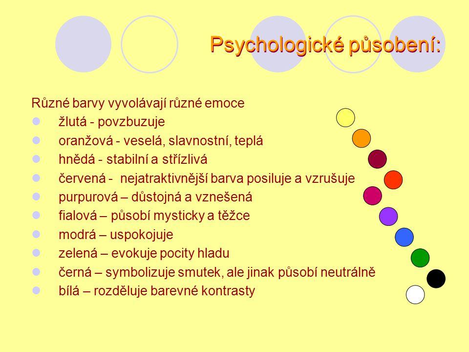 Signální působení barev: Signální působení barev se uplatňuje hlavně v dopravě, průmyslu, zdravotnictví, armádě, školství.