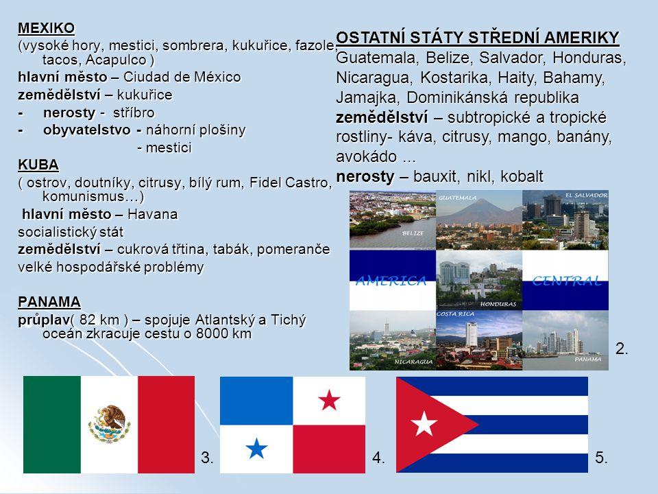 MEXIKO (vysoké hory, mestici, sombrera, kukuřice, fazole, tacos, Acapulco ) hlavní město – Ciudad de México zemědělství – kukuřice - nerosty - stříbro - obyvatelstvo - náhorní plošiny - mestici - mesticiKUBA ( ostrov, doutníky, citrusy, bílý rum, Fidel Castro, komunismus…) hlavní město – Havana hlavní město – Havana socialistický stát zemědělství – cukrová třtina, tabák, pomeranče velké hospodářské problémy PANAMA průplav( 82 km ) – spojuje Atlantský a Tichý oceán zkracuje cestu o 8000 km OSTATNÍ STÁTY STŘEDNÍ AMERIKY Guatemala, Belize, Salvador, Honduras, Nicaragua, Kostarika, Haity, Bahamy, Jamajka, Dominikánská republika zemědělství – subtropické a tropické rostliny- káva, citrusy, mango, banány, avokádo...