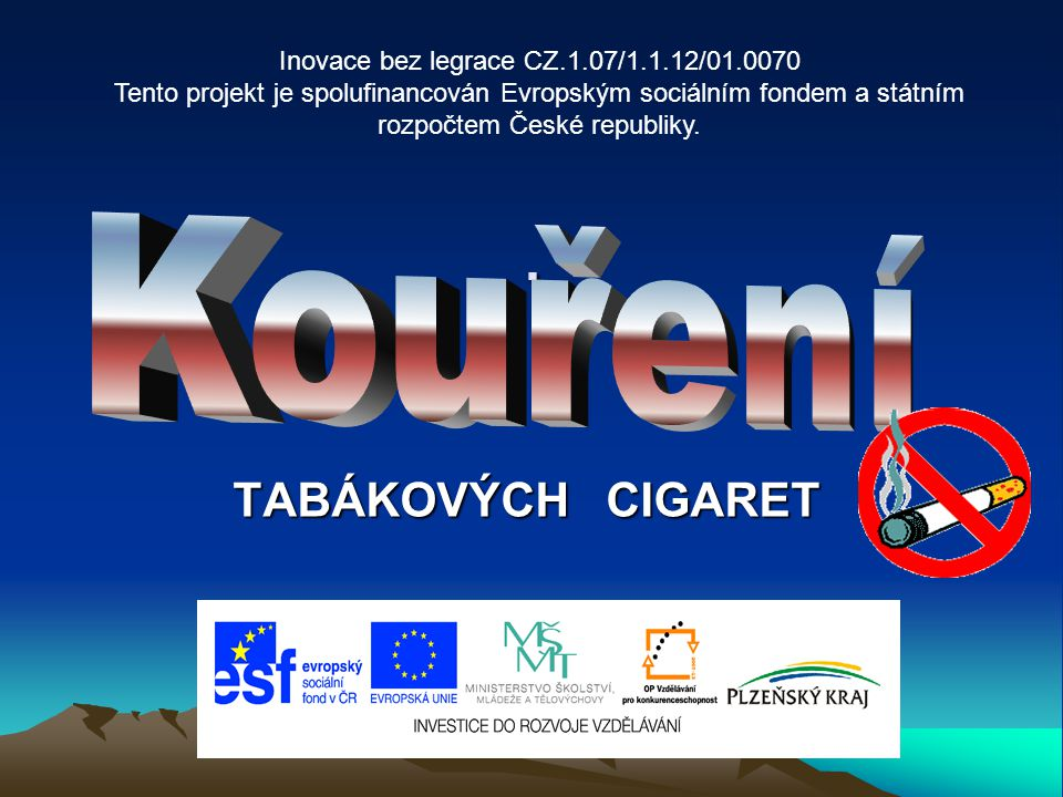 DEFINICE KOUŘENÍ Kouření - vdechování tabákového kouře, jímž se do organismu dostává více než 2000 různých chemických látek schopných dalších reakcí, které mají mnohdy významné účinky na lidský organismus CO PŘI KOUŘENÍ VDECHUJEME - dehet - nikotin - oxidy (hlavně CO – oxid uhelnatý) - další zdraví škodlivé látky