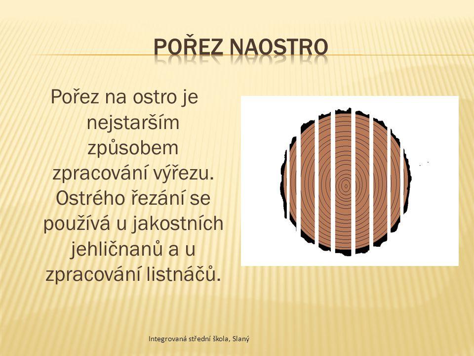 Pořez na ostro je nejstarším způsobem zpracování výřezu. Ostrého řezání se používá u jakostních jehličnanů a u zpracování listnáčů. Integrovaná středn