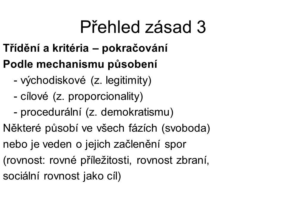 Přehled zásad 4 Třídění a kritéria - pokračování Podle rozsahu působení - obecné (př.
