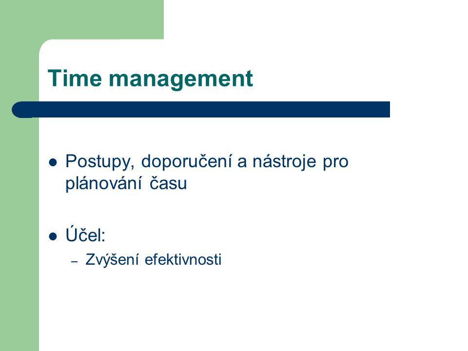 Time management Postupy, doporučení a nástroje pro plánování času Účel: – Zvýšení efektivnosti