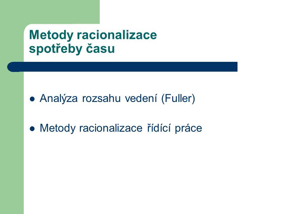 Metody racionalizace spotřeby času Analýza rozsahu vedení (Fuller) Metody racionalizace řídící práce