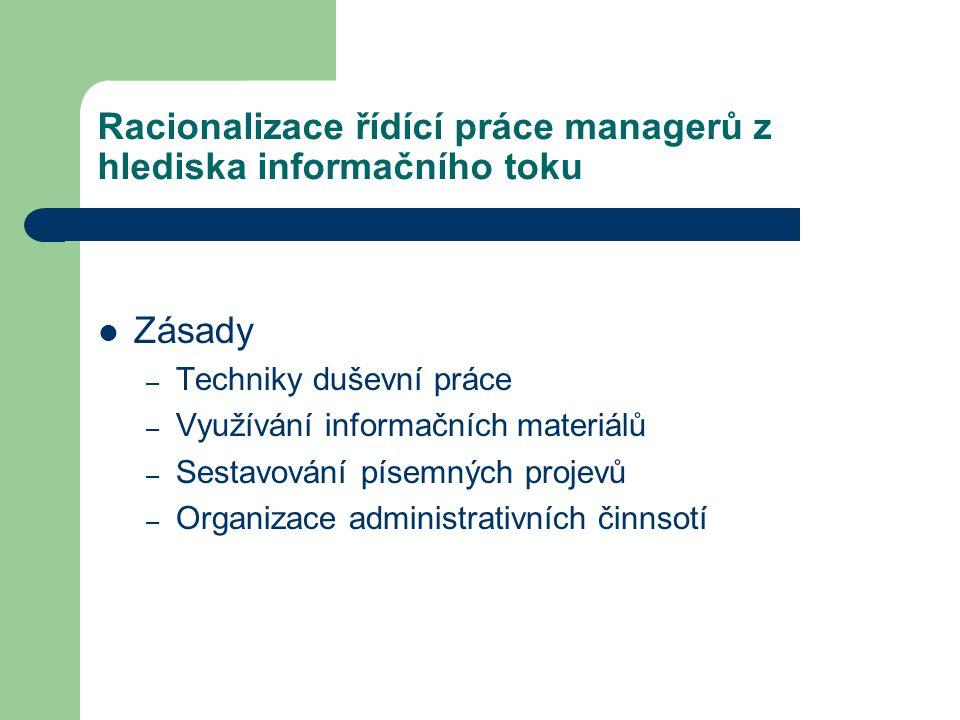 Racionalizace řídící práce managerů z hlediska informačního toku Zásady – Techniky duševní práce – Využívání informačních materiálů – Sestavování písemných projevů – Organizace administrativních činnsotí