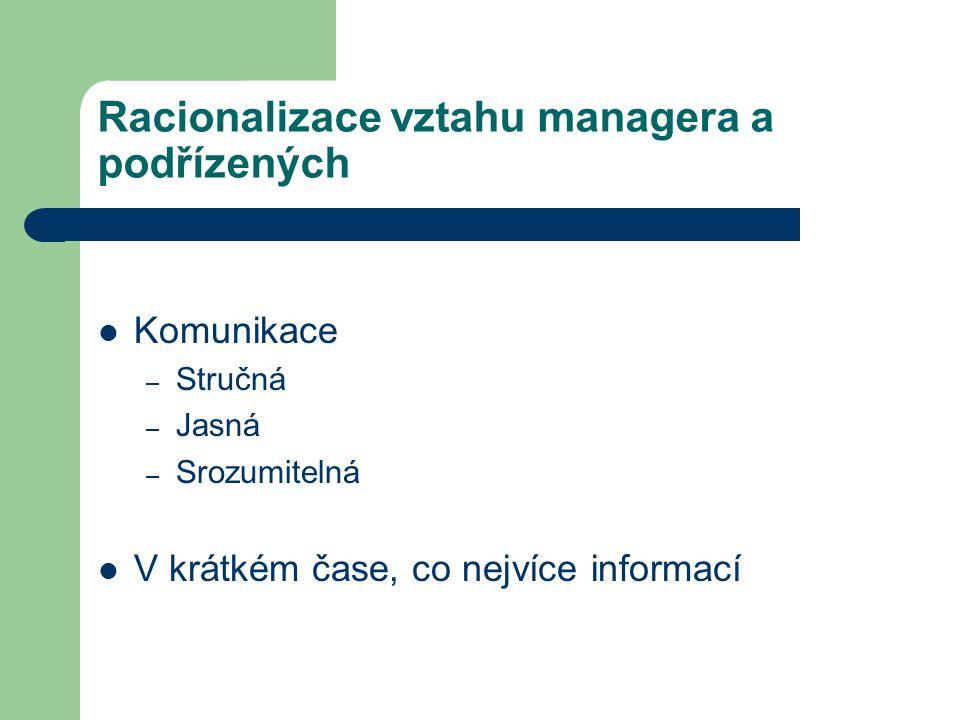 Racionalizace vztahu managera a podřízených Komunikace – Stručná – Jasná – Srozumitelná V krátkém čase, co nejvíce informací