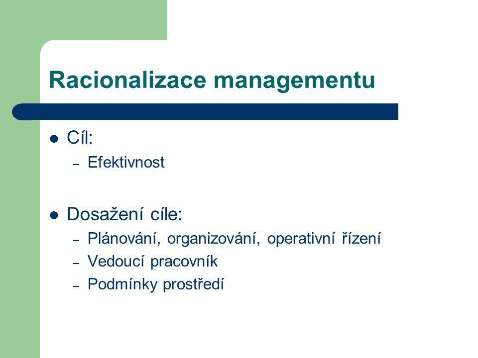 Organizace vlastní řídící práce managerů Racionalizace řídící práce managerů z hlediska informačního toku Racionalizace vztahu managera a podřízených