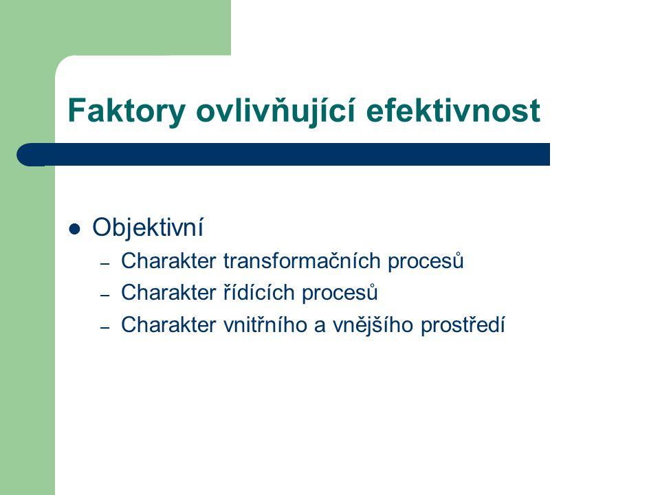 Faktory ovlivňující efektivnost Objektivní – Charakter transformačních procesů – Charakter řídících procesů – Charakter vnitřního a vnějšího prostředí