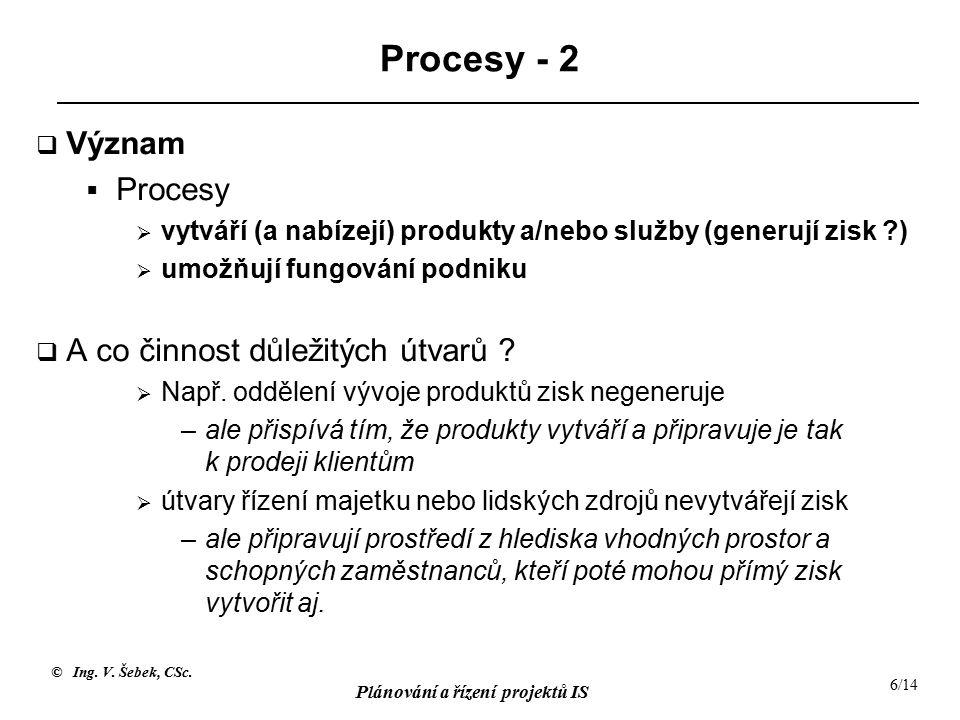 © Ing. V. Šebek, CSc. Plánování a řízení projektů IS 6/14 Procesy - 2  Význam  Procesy  vytváří (a nabízejí) produkty a/nebo služby (generují zisk