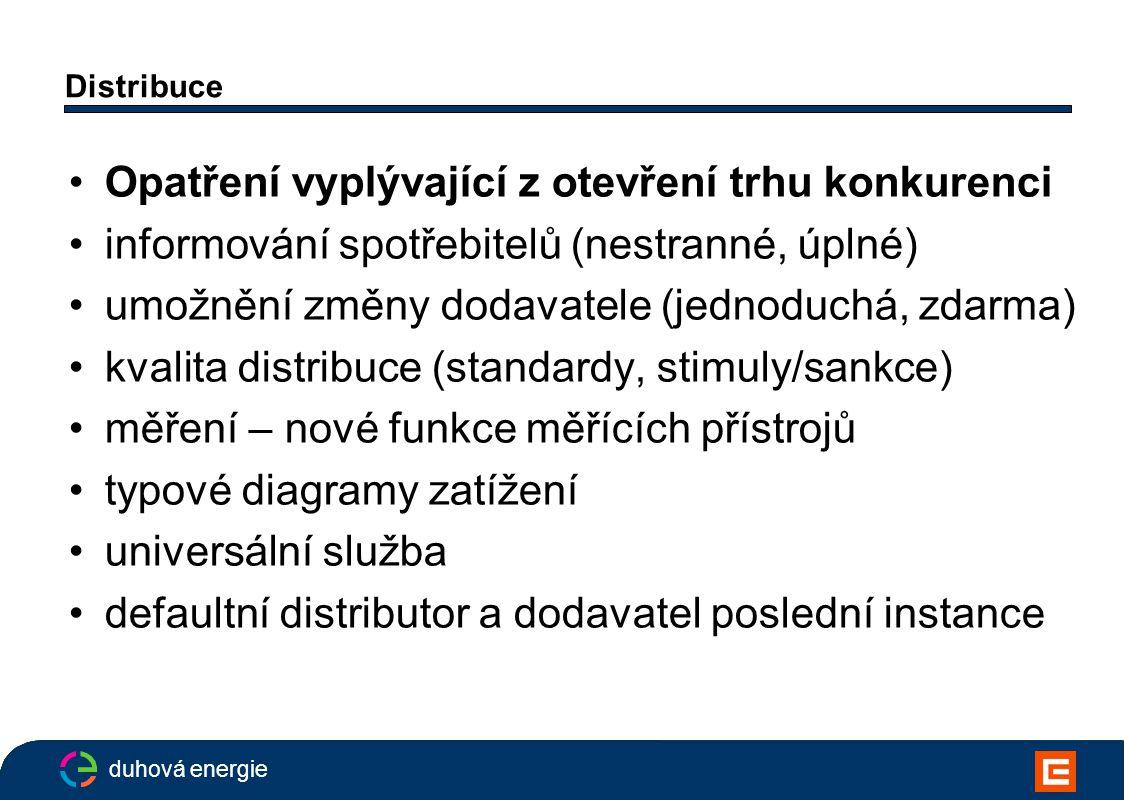 duhová energie Distribuce Opatření vyplývající z otevření trhu konkurenci informování spotřebitelů (nestranné, úplné) umožnění změny dodavatele (jednoduchá, zdarma) kvalita distribuce (standardy, stimuly/sankce) měření – nové funkce měřících přístrojů typové diagramy zatížení universální služba defaultní distributor a dodavatel poslední instance