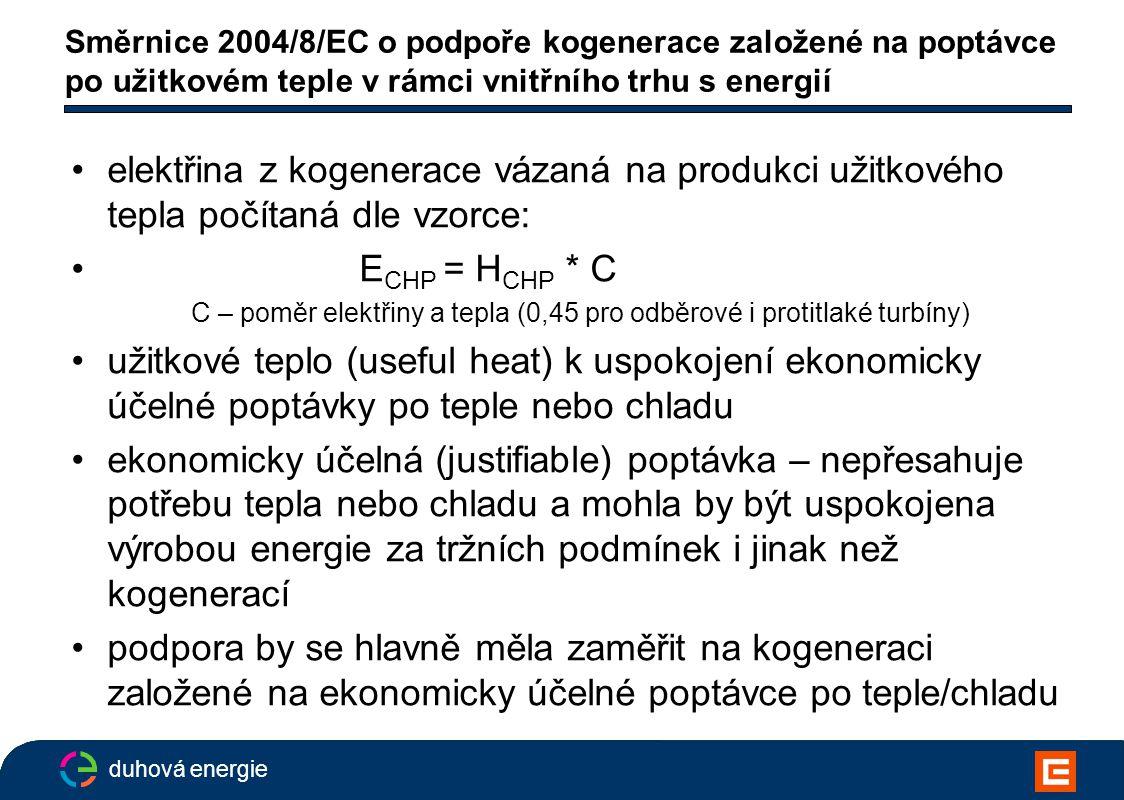 duhová energie Směrnice 2004/8/EC o podpoře kogenerace založené na poptávce po užitkovém teple v rámci vnitřního trhu s energií elektřina z kogenerace vázaná na produkci užitkového tepla počítaná dle vzorce: E CHP = H CHP * C C – poměr elektřiny a tepla (0,45 pro odběrové i protitlaké turbíny) užitkové teplo (useful heat) k uspokojení ekonomicky účelné poptávky po teple nebo chladu ekonomicky účelná (justifiable) poptávka – nepřesahuje potřebu tepla nebo chladu a mohla by být uspokojena výrobou energie za tržních podmínek i jinak než kogenerací podpora by se hlavně měla zaměřit na kogeneraci založené na ekonomicky účelné poptávce po teple/chladu