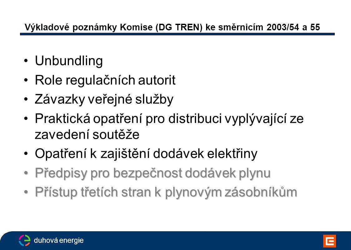 duhová energie Výkladové poznámky Komise (DG TREN) ke směrnicím 2003/54 a 55 Unbundling Role regulačních autorit Závazky veřejné služby Praktická opatření pro distribuci vyplývající ze zavedení soutěže Opatření k zajištění dodávek elektřiny Předpisy pro bezpečnost dodávek plynuPředpisy pro bezpečnost dodávek plynu Přístup třetích stran k plynovým zásobníkůmPřístup třetích stran k plynovým zásobníkům
