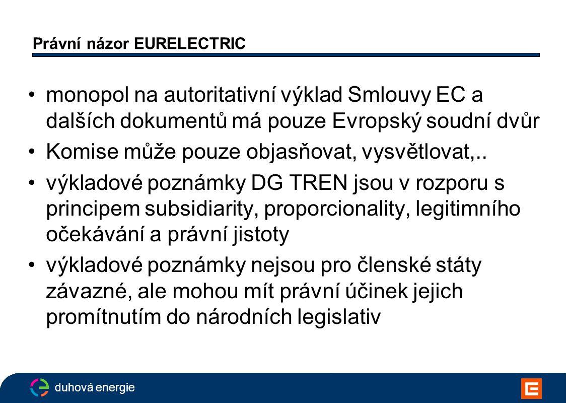 duhová energie Právní názor EURELECTRIC monopol na autoritativní výklad Smlouvy EC a dalších dokumentů má pouze Evropský soudní dvůr Komise může pouze objasňovat, vysvětlovat,..
