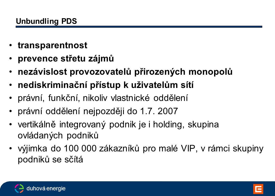 """duhová energie Unbundling PDS VIP musí zřídit samostatný síťový podnik, který nemusí vlastnit infrastrukturu, může využívat společné služby, jeho management musí mít ale """"účinná práva rozhodovat (odměny za výkonnost síťového podniku, důvody odvolání ve stanovách, omezené vlastnictví akcií,..) mateřská společnost může schvalovat finanční/podnikatelský plán, nesmí ale řídit každodenní činnost síťového podniku ani korigovat rozhodnutí o výstavbě a modernizaci sítě v rámci finančního plánu"""